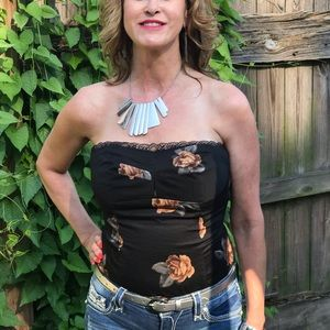 Tube top I Black with gold & silver flowers size 8